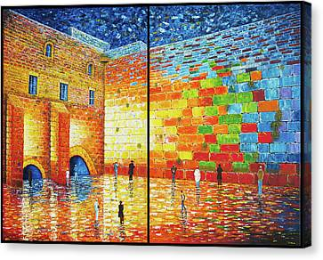 Canvas Print - Western Wall Jerusalem Wailing Wall Acrylic Painting 2 Panels by Georgeta Blanaru