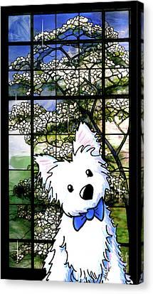 Westie At Dogwood Window Canvas Print by Kim Niles