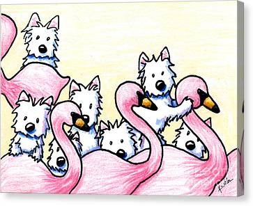 Flamingo Canvas Print - Westie Flamingo Dancers by Kim Niles