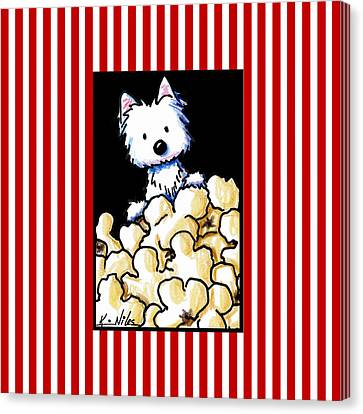 Westie Popcorn Lover Canvas Print by Kim Niles
