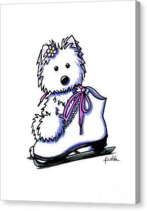 Westie Skater Girl Canvas Print by Kim Niles