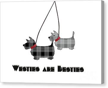 Scottish Dog Canvas Print - Westies Are Besties by Beverley Brown