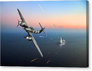 Westland Whirlwind Attacking E-boats Canvas Print by Gary Eason