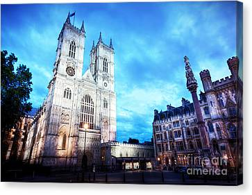 Westminster Abbey Church Facade At Night, London Uk. Canvas Print by Michal Bednarek
