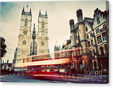 Westminster Abbey Church, Red Bus Moving In London Uk. Vintage Canvas Print by Michal Bednarek