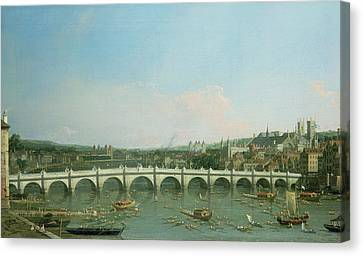 Westminster Bridge From The North With Lambeth Palace In Distance Canvas Print by Canaletto