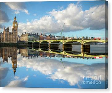 Canvas Print featuring the photograph Westminster Bridge London by Adrian Evans