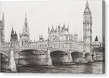 Westminster Bridge Canvas Print by Vincent Alexander Booth