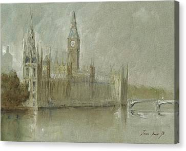 Westminster Palace And Big Ben London Canvas Print by Juan Bosco