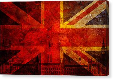 Westminster Palace Union Jack Flag Grunge Texture Background Canvas Print
