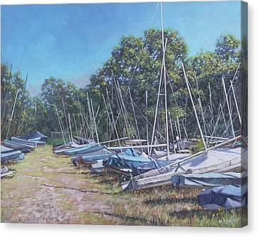 Canvas Print - Weston Shore Boats At Yacht Club, Southampton by Martin Davey