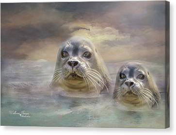 Canvas Print featuring the digital art Wet And Wild by Wallaroo Images
