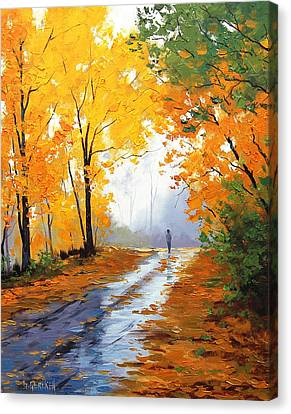 Wet Autumn Morning Canvas Print by Graham Gercken