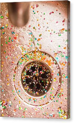 Drain Canvas Print - Wet Bright Confetti Scattered In Sink by Jorgo Photography - Wall Art Gallery