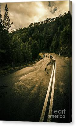 Woodlands Scene Canvas Print - Wet Highland Road by Jorgo Photography - Wall Art Gallery