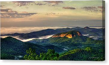 Canvas Print featuring the photograph Looking Glass Rock Sunrise Between The Clouds Blue Ridge Parkway by Reid Callaway