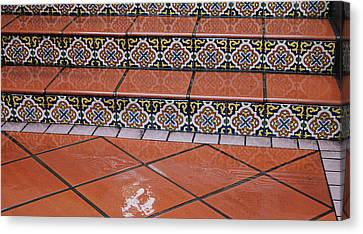 Wet Tile Steps Canvas Print by Jean Booth