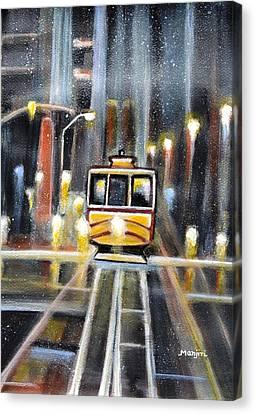 Wet Tram California Canvas Print