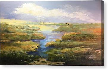 Canvas Print featuring the painting Wetlands by Helen Harris