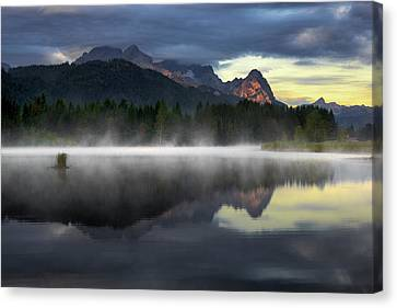 Wetterstein Mountain Reflection During Autumn Day With Morning Fog Over Geroldsee Lake, Bavarian Alps, Bavaria, Germany. Canvas Print