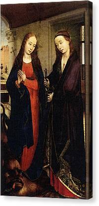 Weyden Sts Margaret And Apollonia Canvas Print by Van der Weyden