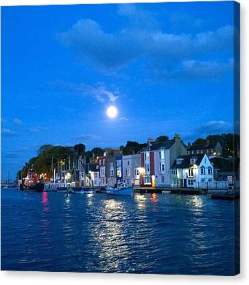 Weymouth Harbour, Full Moon Canvas Print by Anne Kotan
