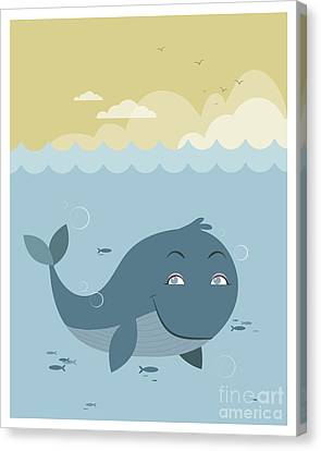 Whale At Sea Canvas Print by Pablo Romero