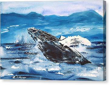 Whale Breaching Canvas Print by Tanya L Haynes - Printscapes