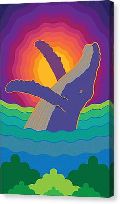 Tropical Sunset Canvas Print - Whale On Sunset Costa Rica by Jose Baquero