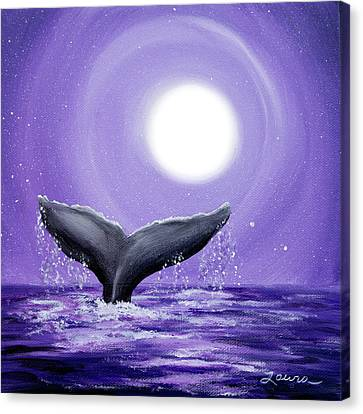 Whale Tail In Lavender Moonlight Canvas Print by Laura Iverson