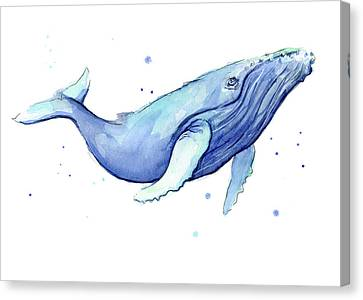Whale Watercolor Humpback Canvas Print by Olga Shvartsur