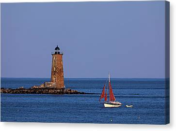 I Am Sailing Canvas Print - Whaleback Lighthouse And Sailboat by Juergen Roth