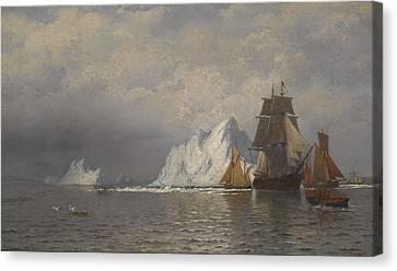 Whaler And Fishing Vessels Near The Coast Of Labrador Canvas Print by William Bradford