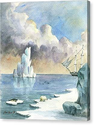 Frigates Canvas Print - Whaler On Ice by Juan Bosco