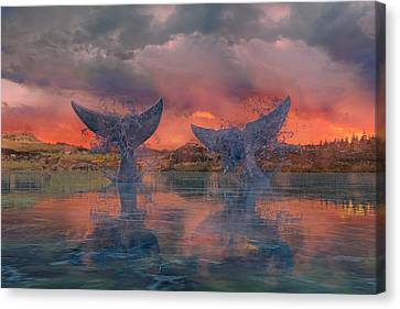 Whales Canvas Print by Betsy Knapp