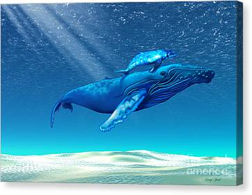 Whales Canvas Print by Corey Ford