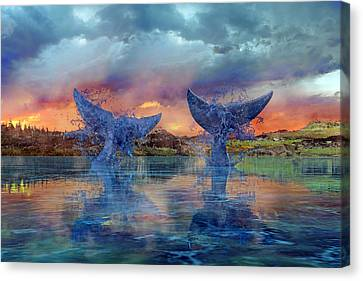 Reflecting Water Canvas Print - Whales II by Betsy Knapp