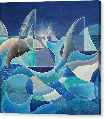 Whales In The Midnight Sun Canvas Print by Douglas Pike