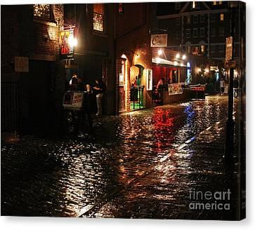 Whart Street In The Night Rain Canvas Print by Maria Varnalis