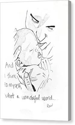 Canvas Print featuring the drawing What A Wonderful World by Rebecca Wood
