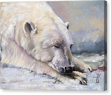 Indigenous Wildlife Canvas Print - What Do Polar Bears Dream Of by J W Baker
