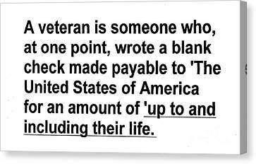 Canvas Print featuring the photograph What Is A Veteran by Merton Allen
