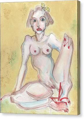 Canvas Print featuring the painting What It Was Really Like - Self Portrait by Carolyn Weltman