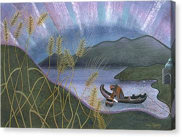 Wheat And Northern Lights Canvas Print by Sally Appleby