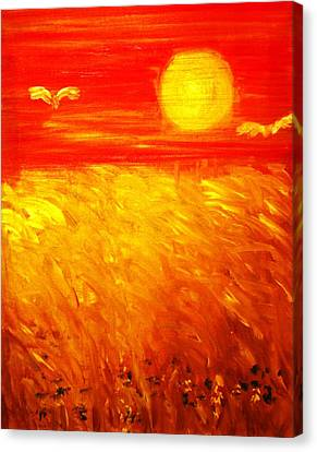 Canvas Print featuring the painting Wheat Field by Evelina Popilian