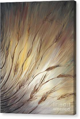 Wheat In The Wind Canvas Print by Nadine Rippelmeyer
