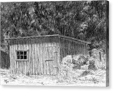 Wheel Farm Shed Canvas Print