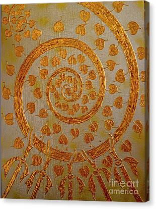 Wheel Of Prosperity 5, Silver And Gold, The Gold Leaf Collection Canvas Print by Jeffery Waz