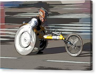 Wheelchair Racer Canvas Print by Clarence Holmes