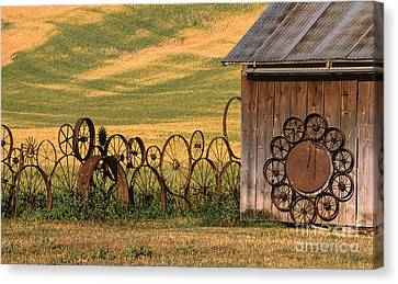 Wheels Of The Palouse Canvas Print by Sandra Bronstein